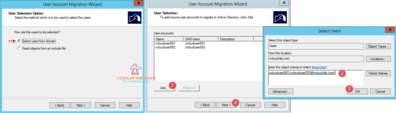 ADMT User Account Migration Wizard Select Users from domain, User selection add from dc or file, select user dsa.msc