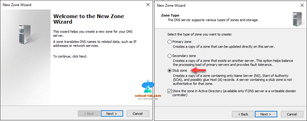 DNS Manager new zone wizard primary zone, secondary zone, stub zone, store the zone in active directory