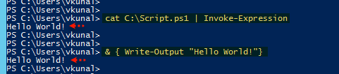 Execute Powershell get-content, cat, hello world write-output,  Invoke-expression, iex, running script execution policy unrestricted, script in curly braces