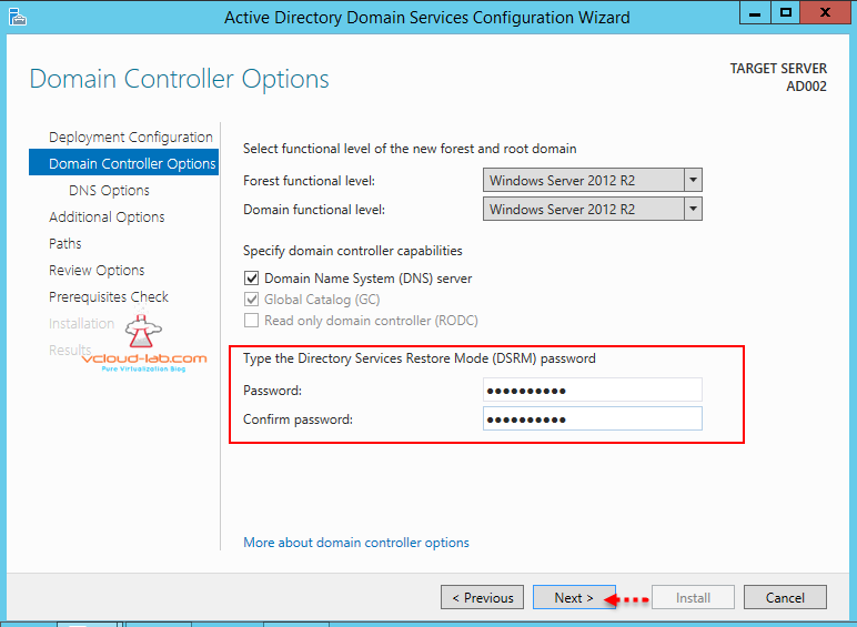 Domain controller forest domain functional level dns, dsrm password