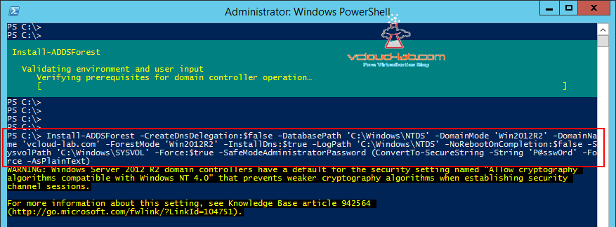 Install-ADDSForest install active directory using powershell