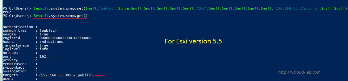 Setting up snmp server in esxi esxcli powercli