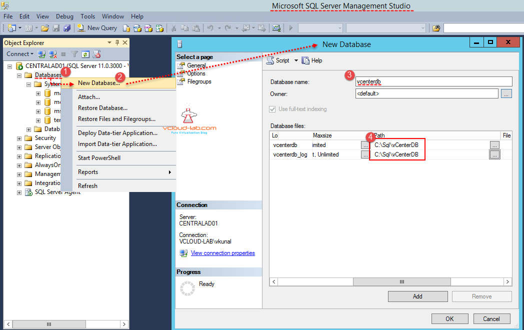 Sql server new database creation for vcenter server