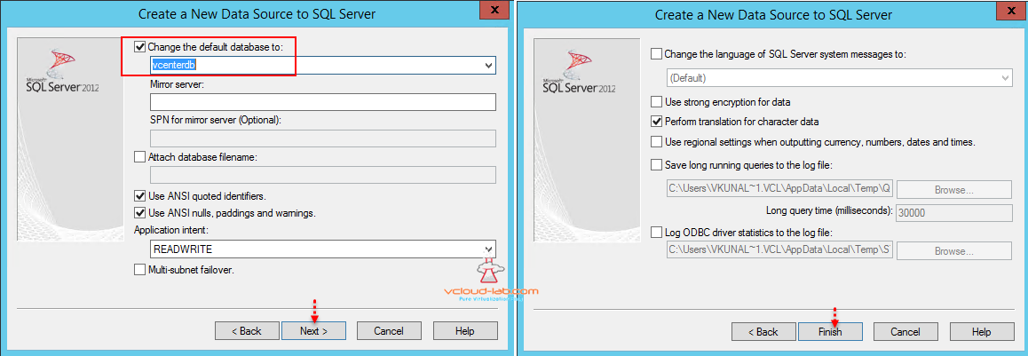 sql data source select vcenter database