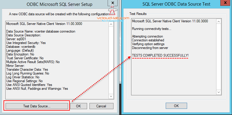 ODBC microsft sql server setup test data source successful