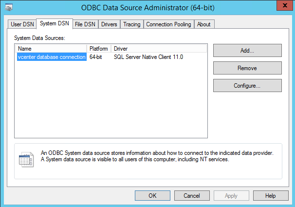 vcenter database connection odbc data source administrator system dsn