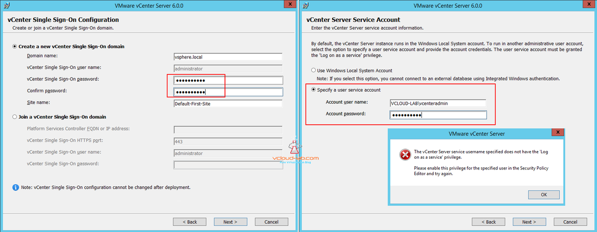 vcenter single sign-on configuration PSC and user service account
