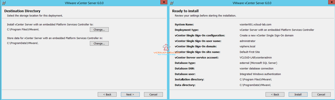 Vcenter server PSC installation directory and summary