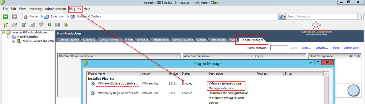 vcenter update manager plugin enabled resolved