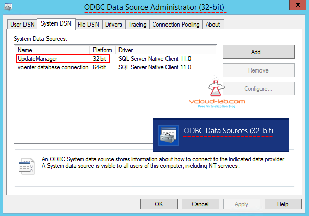 Update Manger ODBC 32 SQL server database DSN creation