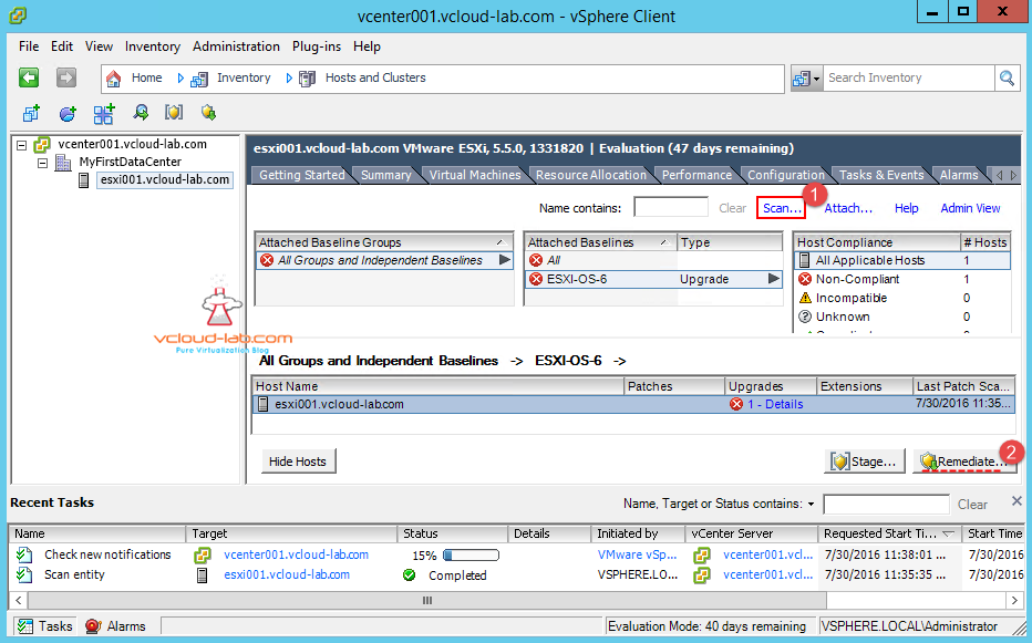 vum vmware update manager upgrade esxi server attach newly created upgrade baseline and remediate