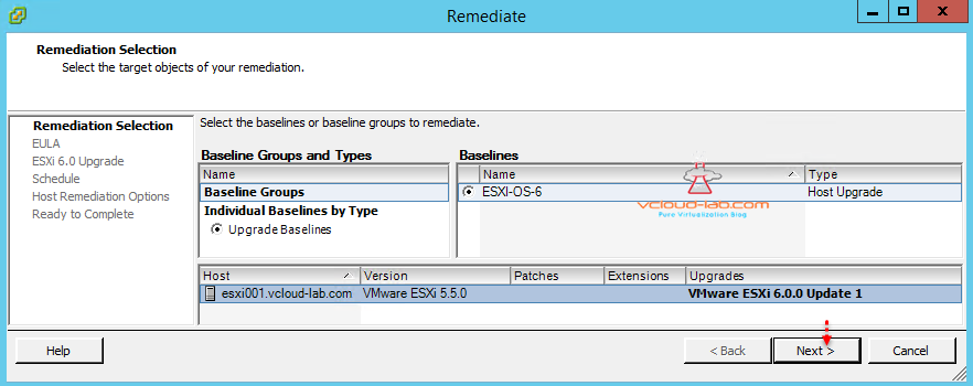 vum vmware update manager upgrade esxi server remediate select baseline