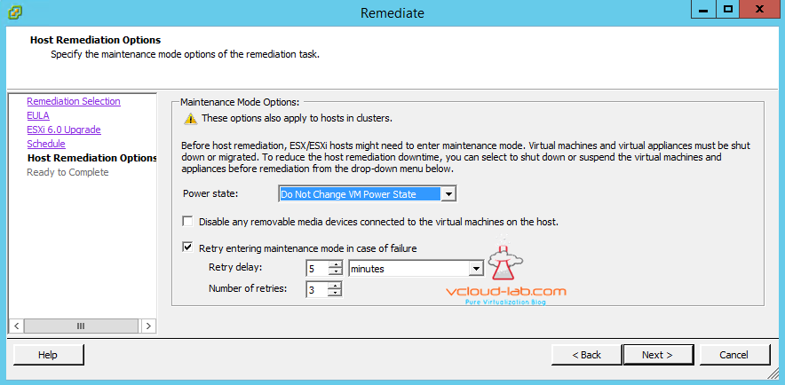 vum vmware update manager upgrade remediate schedule maintenance mode