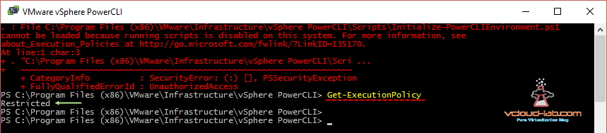 Powercli cannot be loaded because running scripts is disabled on this computer