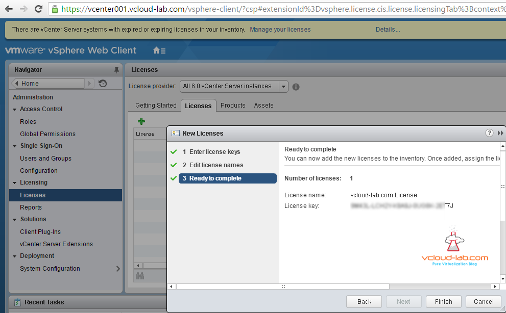 Add vsphere vcenter esxi new free licenses to the inventory