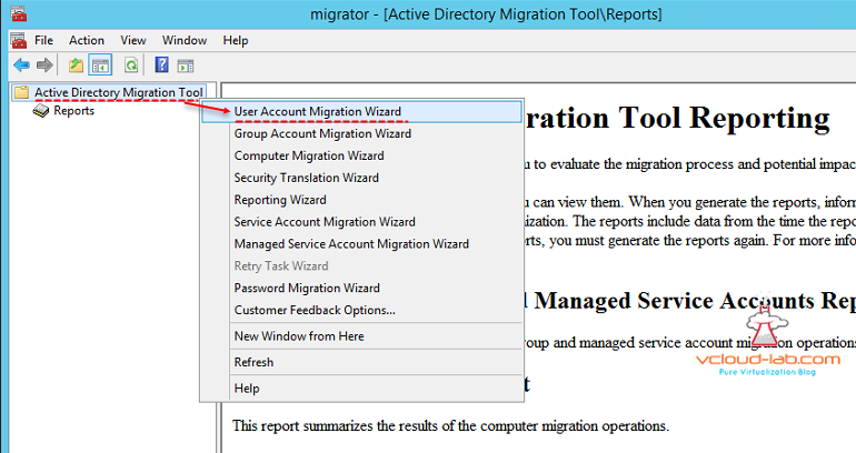 Active Directory Migration tool User Account Migration Wizard