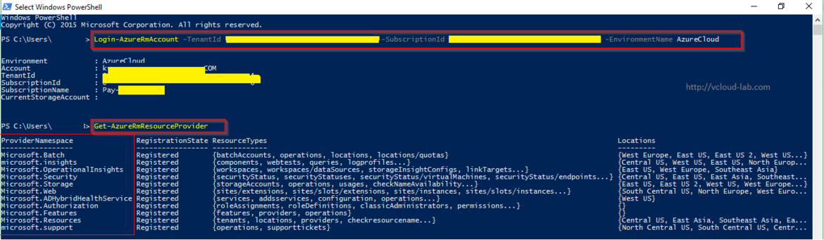 azure powershell login-azurermaccount, get-azurermresourceprovider.png, list resource provider namespaces registered only