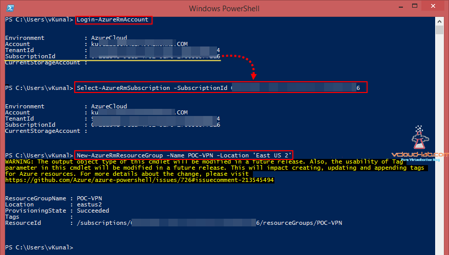 Microsoft Azure powershell login subscription add new reources group poc vpn