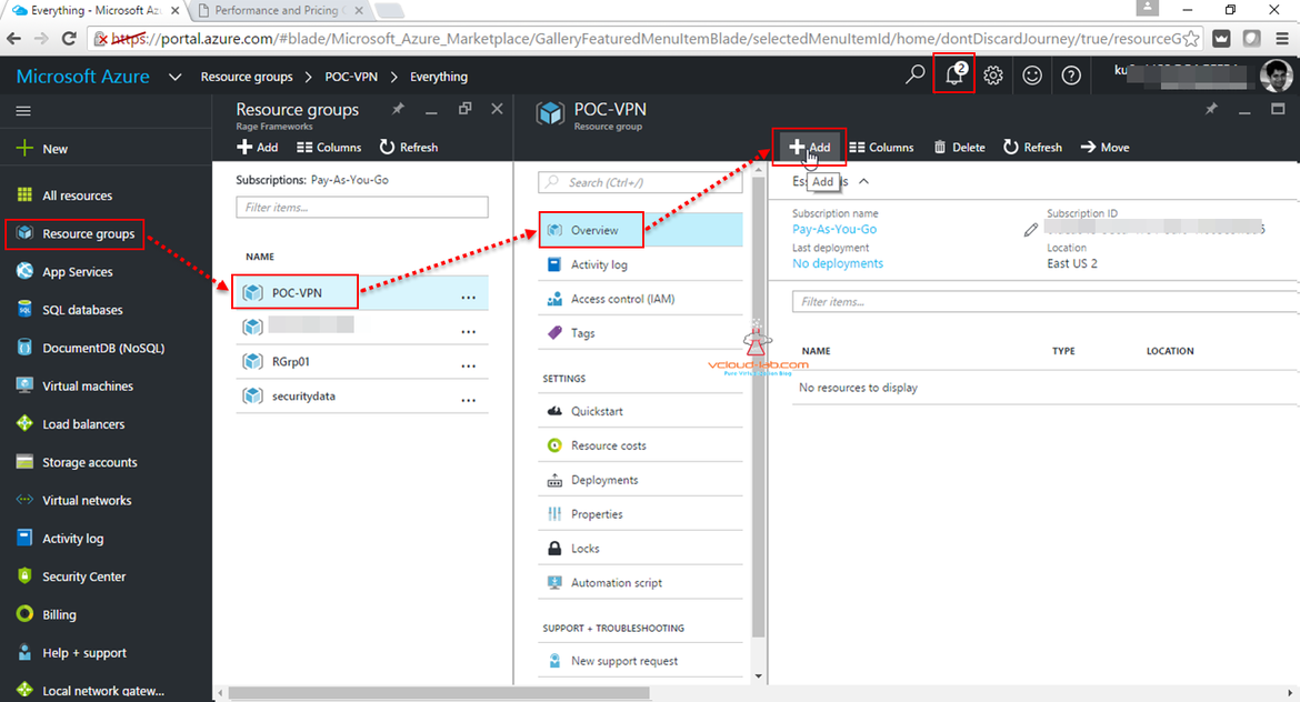 Microsoft Azure add new vnet resources in reources group poc vpn on Portal.azure.com