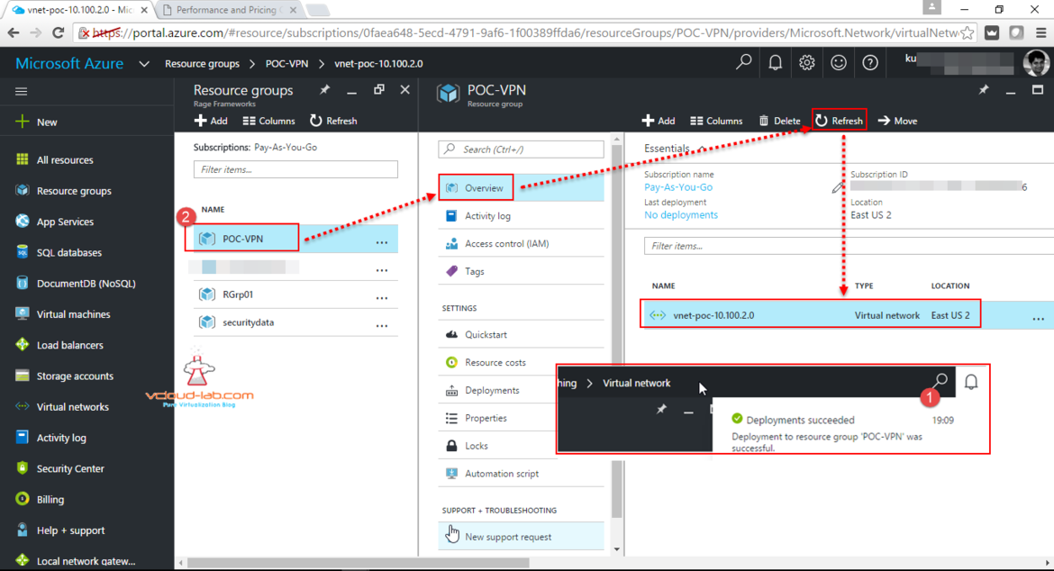 Microsoft Azure create virtual network, subnets, address spaces, gateway