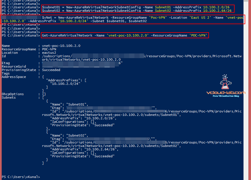 Microsoft Powershell Azure new virtual networkn new vnet subnet config