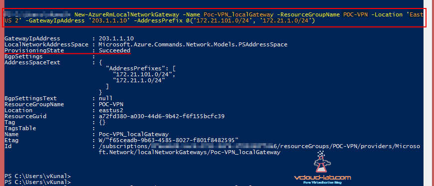 Microsoft Azure New-AzureRmLocalNetworkGateway Local Network Gateway, GatewayIPAddress, AddressPrefix