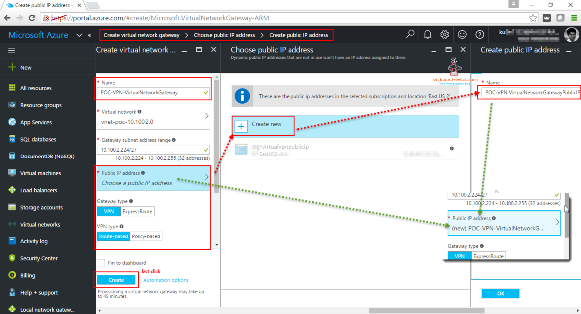 Microsoft azure create virtual nework gateway, public IP address, vpn, expressroute, route-based, policy-based