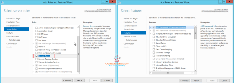 Microsoft Azure server roles remote access role feature installation