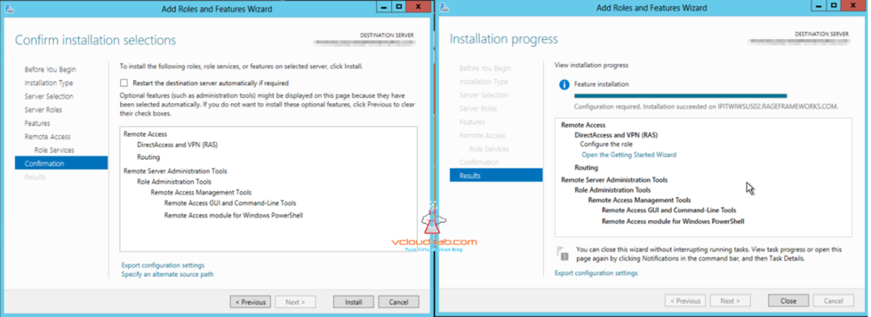 Azure add roles and features wizard directaccess and VPN (RAS), Routing installation feature successful