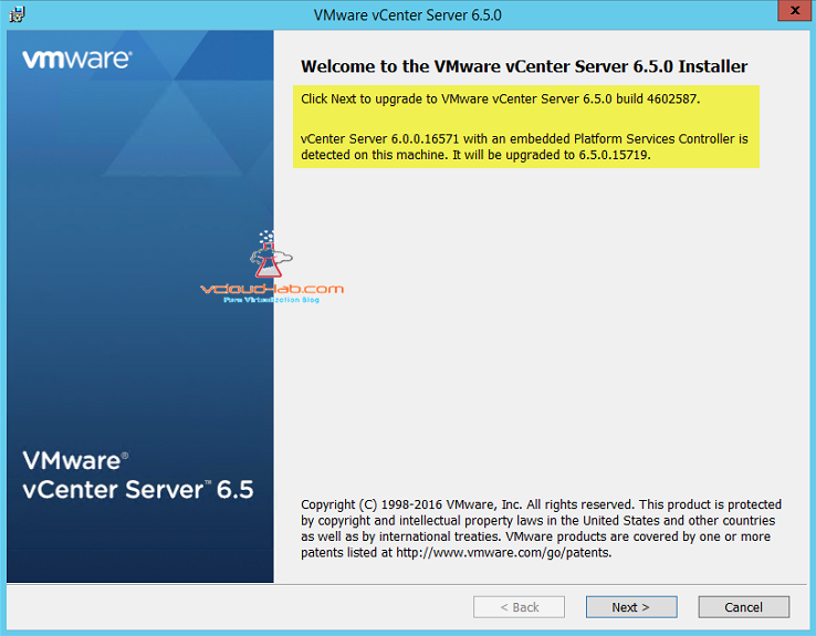 VMware vcenter server 6.0 to vcenter 6.5 upgrade procedure installer