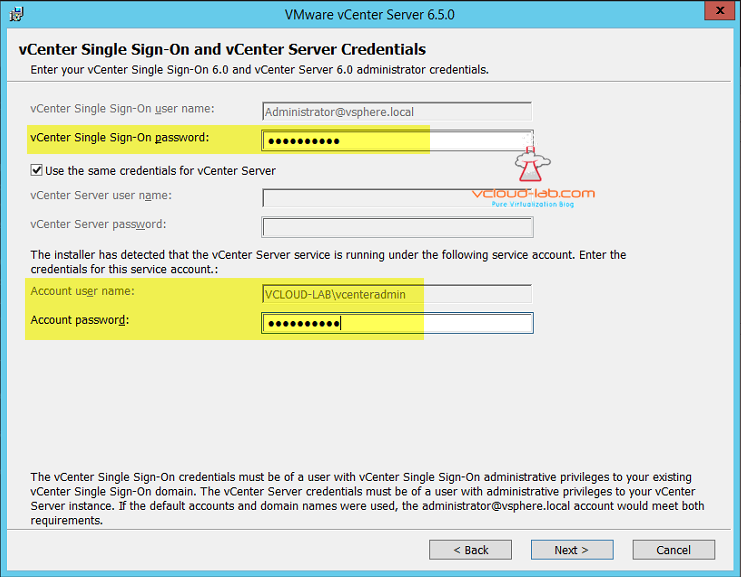 VMware vCenter Sign-On and vCenter Server Credentials upgrade 6.5 version