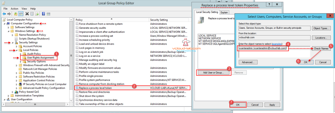 vmware vcenter 6.5 upgrade local group policy editor replace a process level token