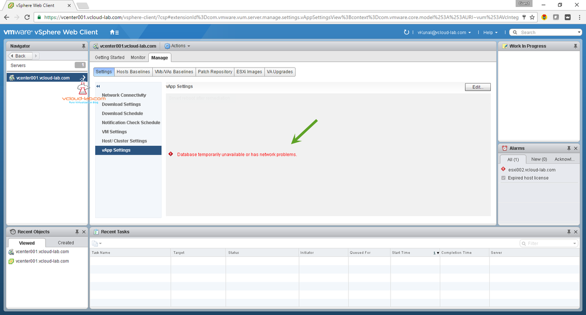 vmware vsphere update manager VUM 6.5 error, database temporarily unavailable or has network problems