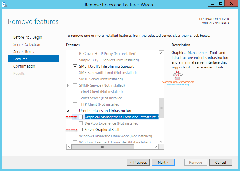 Micrsoft Windows server 2012 r2, windows server 2016, Server Manager remove roles and features, user interfaces and infrastructure, Server Graphical Shell