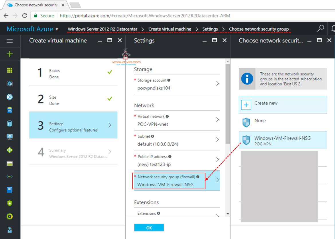 Microsoft Azure attaching or associating existing NSG Network Security Group on virtual machine vm in Settings Configure optional features choose firewall