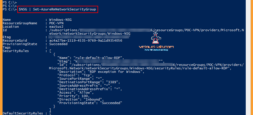 Microsoft Azure powershell create NSG, Network Security Group, Add-AzurermnetworkSecurityRuleConfig, NSG inbound outbound rules, tcp udp allow deny set-azurermnetworksecuritygroup commit changes