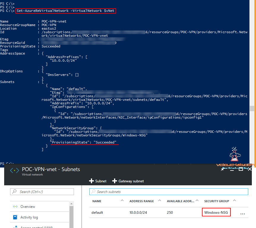 Associating NSG network security group to a Virtual Network vNet subnet microsoft azure powershell get-azurermvirtualnetwork, set-azurermvirtualnetworksubnetconfig , Set-AzureRmVirtualNetwork -virtualNetwork.png