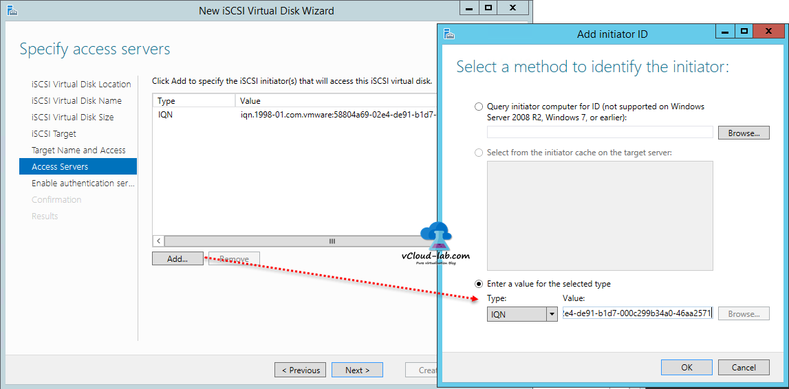 9 iSCSI storage server windows 2012 R2, to create iSCSI Virtual Disks wizard, Esxi storage adapter iscsi software adapter, vmhba, iqn name, identify the initiator