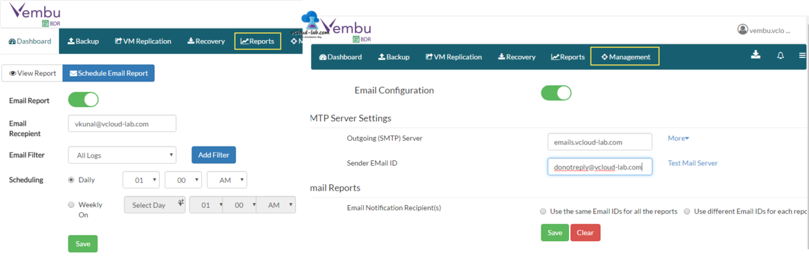 12 VEMBU BDR Report schedule email reports, management email configuration, smtp and send id.png