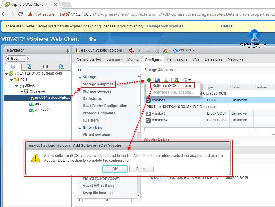 vmware vcenter esxi add software iscsi storage adapter, software vmhba send targets, static, dynamic discovery