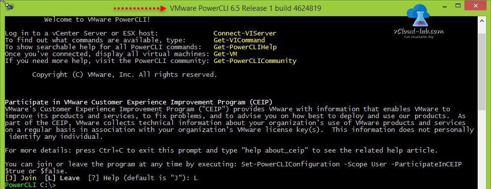VMWare Powercli 6.5 release 1 console, connect-viserver, Get-VICommand, Get-PowercliHelp, Get-VM, Get-PowerCLICOmmunity, CEIP