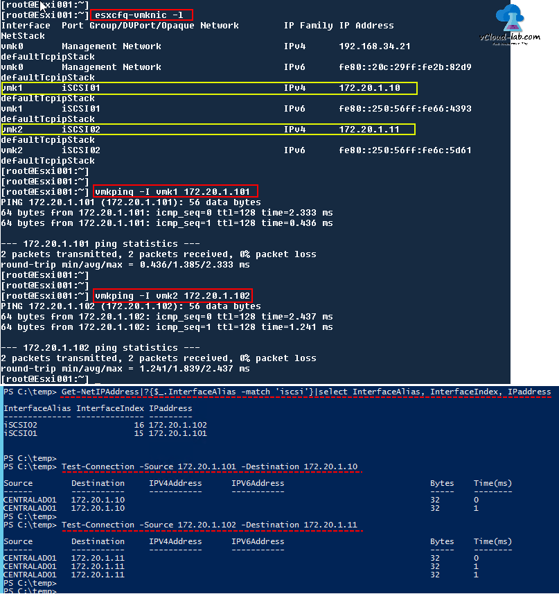 check connective between esxi and storage, Vmware vSphere esxi iscsi connection session vmkping, esxcfg-vmknic -l, ping get-netIPAddress, test-connection source destination, alternative ping successful