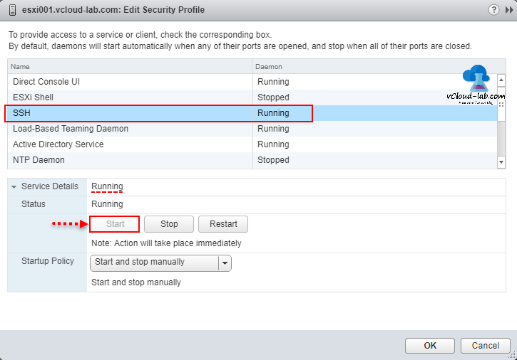 vmware vsphere esxi, edit security profile, SSH daemon stopped running, start and stop manually, startup policy