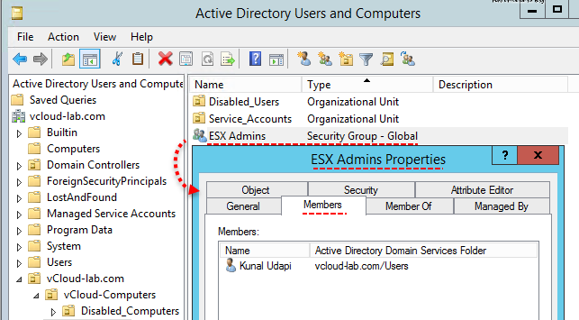 Reset esxi password with domain admin account active directory users and computers