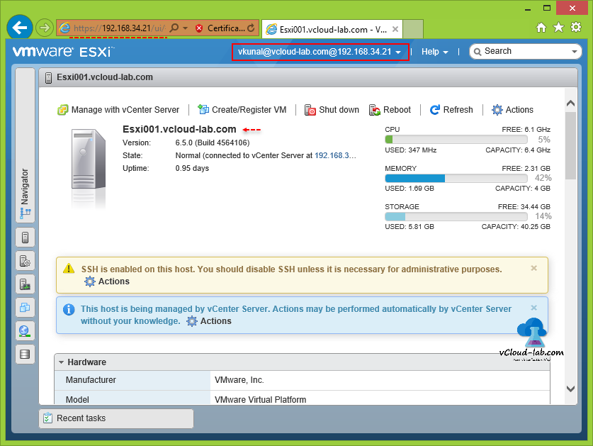 esxi web client ui, login using ad domain account