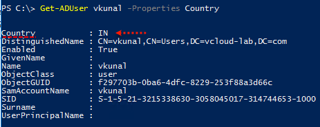 Active Directory Powershell Get-Aduser country properties error -ADUser  A value for the attribute was not in the acceptable range of values