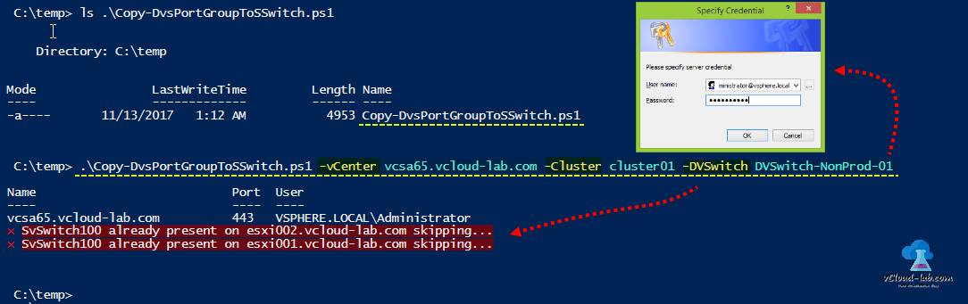 vmware vsphere vcenter esx powercli, cluster, dvswitch distributed standard virtual switch, New-VirtualSwitch, New-VirtualPortGroup, Get-vdswitch script error handling, clone copy portgroups, migrating esxi host with dvswitch, configure esxi