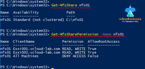 Microsoft Windows NFS server Powershell Get-WindowsFeature, Install-windowsFeature, Get-NfsSharePermission, automation Get-NFSshare, file share, network file system, authentication sys, enable unmapped access.png