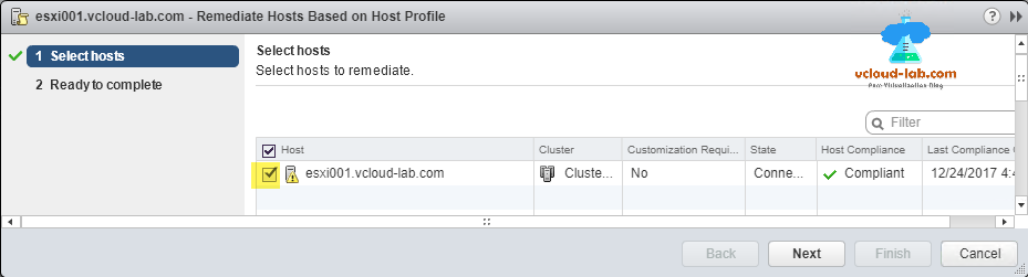 vmware vsphere web client, remediate hosts based on host profile, select hosts, esxi, and cluster