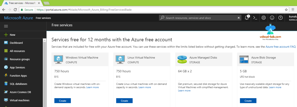 Microsoft azure free services free fro 12 months with the azure, create windows virtual machine, whithout free credit and debit card azure registration.png